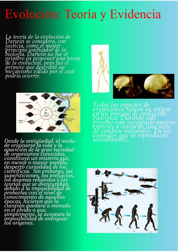 La teoría de la evolución deDarwin se considera, conjusticia, como el mayorprincipio unificador de labiología. Darwin no f...