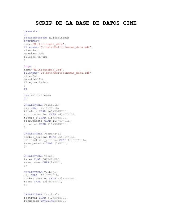 Scrip de la base de datos cine