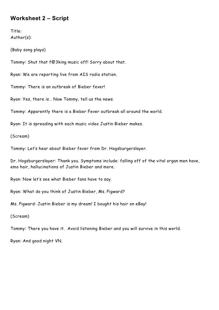 Worksheet 2 – ScriptTitle:Author(s):(Baby song plays)Tommy: Shut that f@3king music off! Sorry about that.Ryan: We are rep...