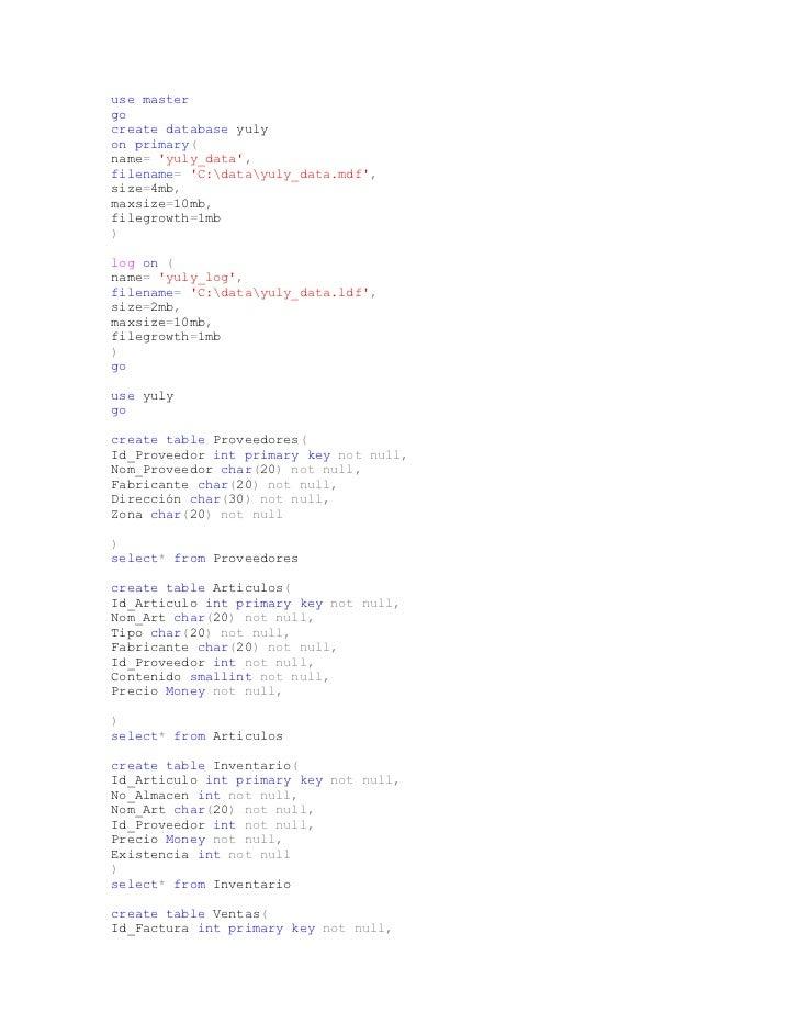 use mastergocreate database yulyon primary(name= yuly_data,filename= C:datayuly_data.mdf,size=4mb,maxsize=10mb,filegrowth=...