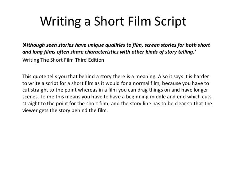 writing short screenplays