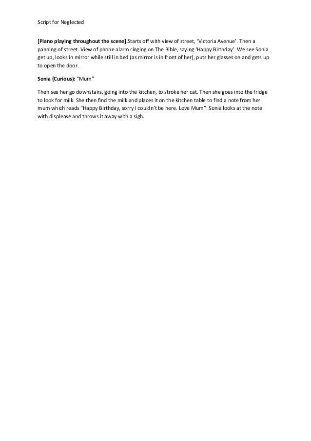 Script for neglected (thriller)