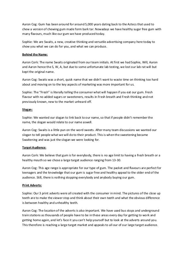Script for pitch