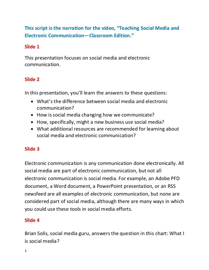 """This script is the narration for the video, """"Teaching Social Media andElectronic Communication—Classroom Edition.""""Slide 1T..."""