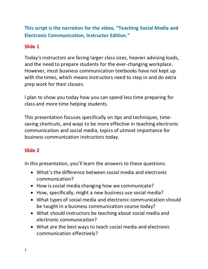 Script for Teaching Social Media and Electronic Communication--Instructor Edition