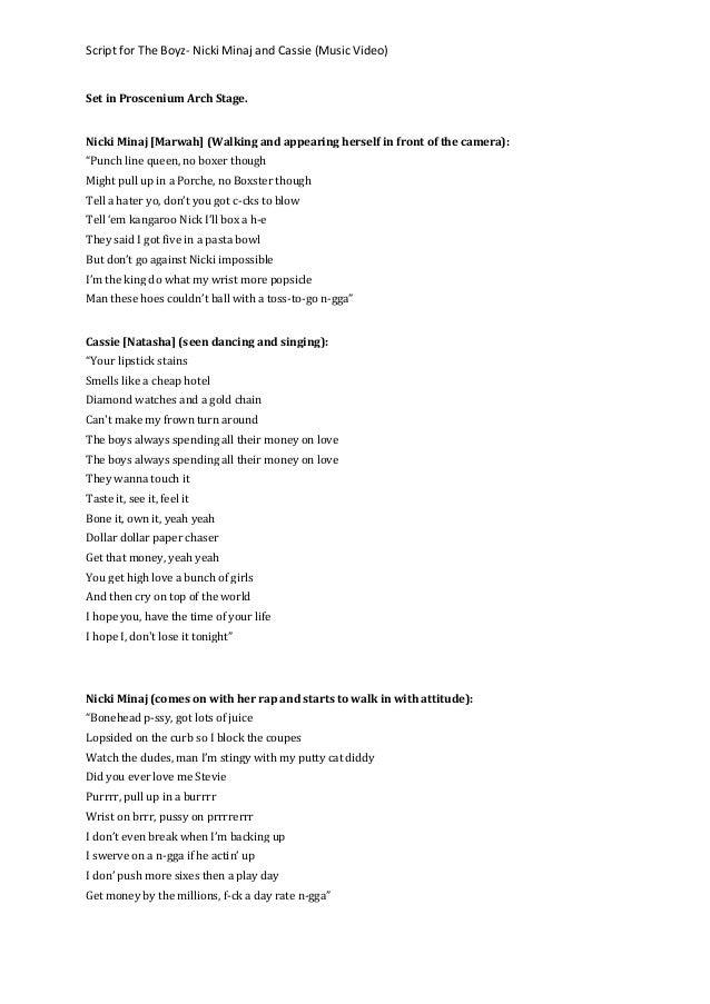 Script for the boyz  nicki minaj and cassie (music video)