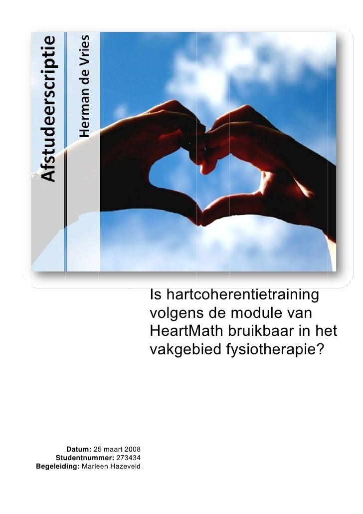 Scriptie herman de vries hartcoherentie en fysiotherapie
