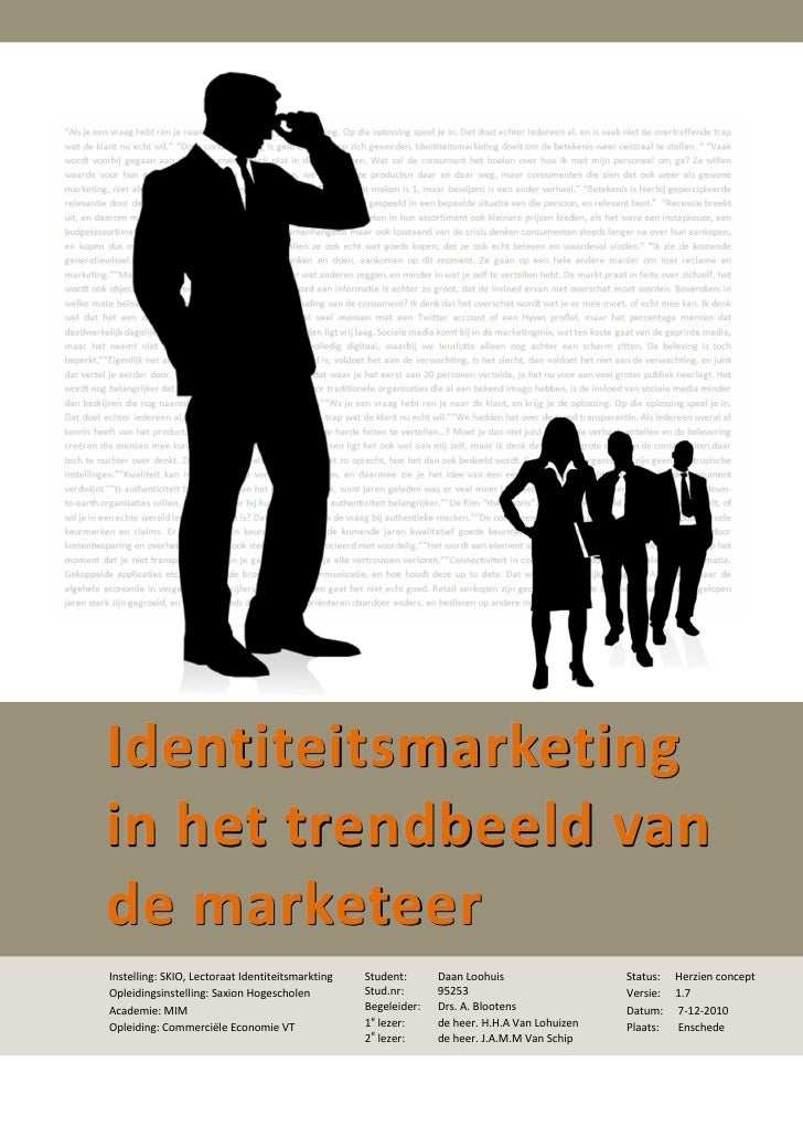 Scriptie marketing trends Identiteitsmarketing