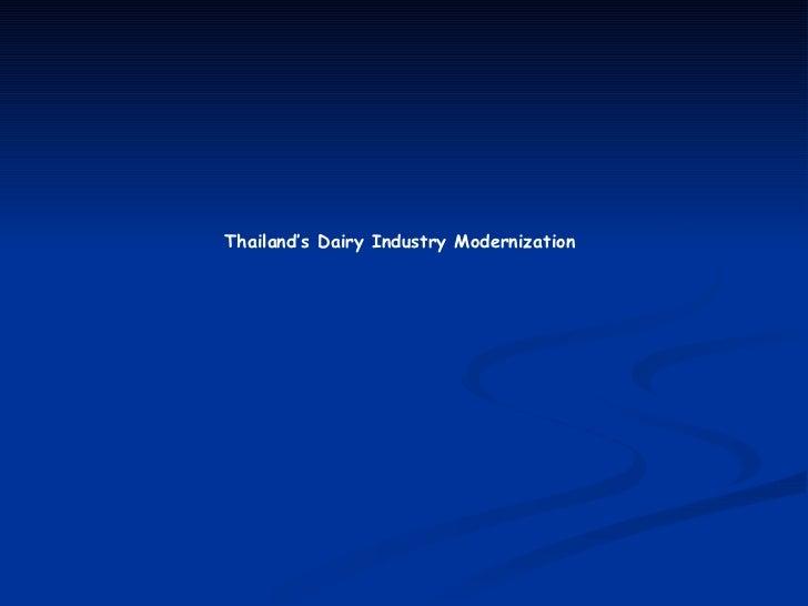 Thailand's Dairy Industry Modernization