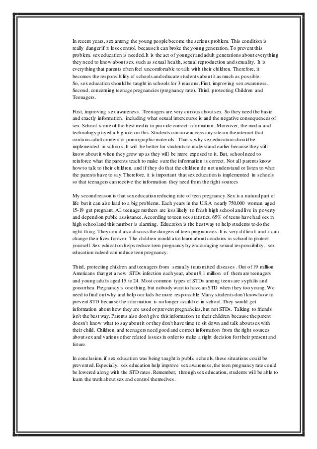 persuasive essays comprehensive sex education English composition 1 sample eng 1001 persuasive essay with sources  sex education is important, but many students finish sex education classes with a distorted.