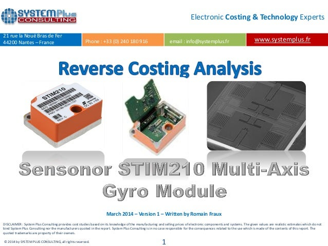 Sensonor STIM210 High-precision MEMS Gyro Module teardown reverse costing report by published Yole Developpement