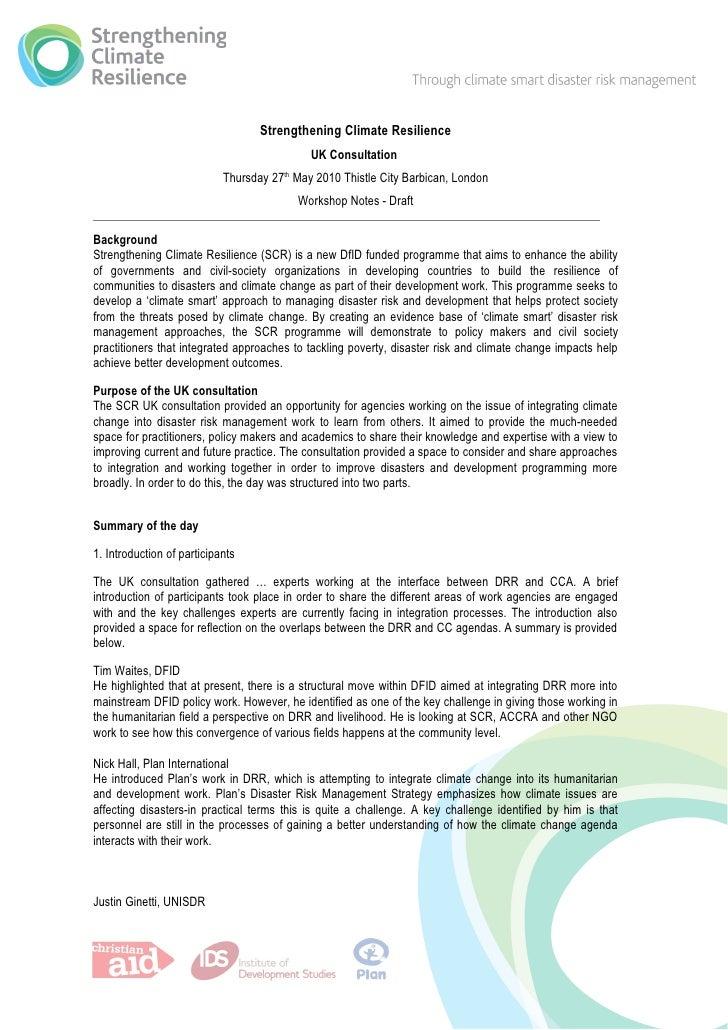 SCR uk consultation workshop report
