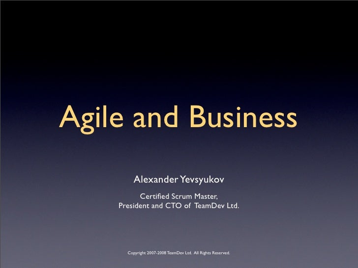 Scrum And Business