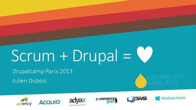 Scrum + Drupal =Drupalcamp Paris 2013Julien Dubois
