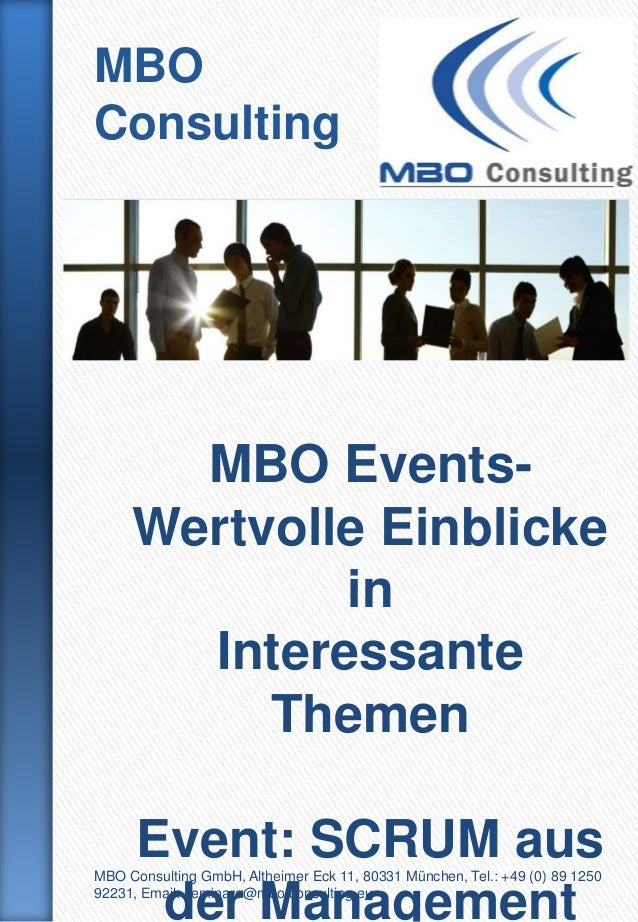 MBOConsulting       MBO Events-     Wertvolle Einblicke             in       Interessante          Themen      Event: SCRU...