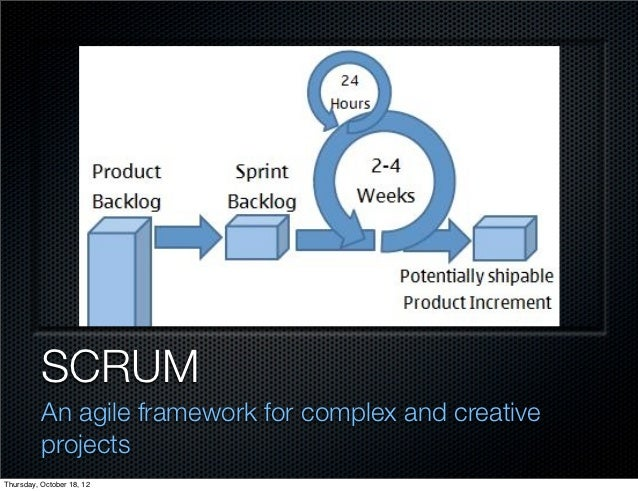SCRUM          An agile framework for complex and creative          projectsThursday, October 18, 12