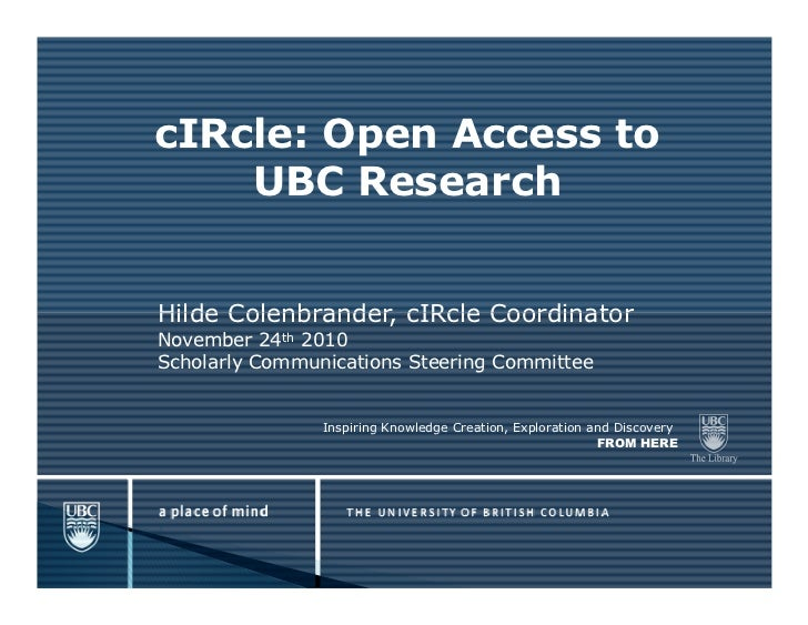 cIRcle: Open Access to    UBC ResearchHilde Colenbrander, cIRcle CoordinatorNovember 24th 2010Scholarly Communications Ste...
