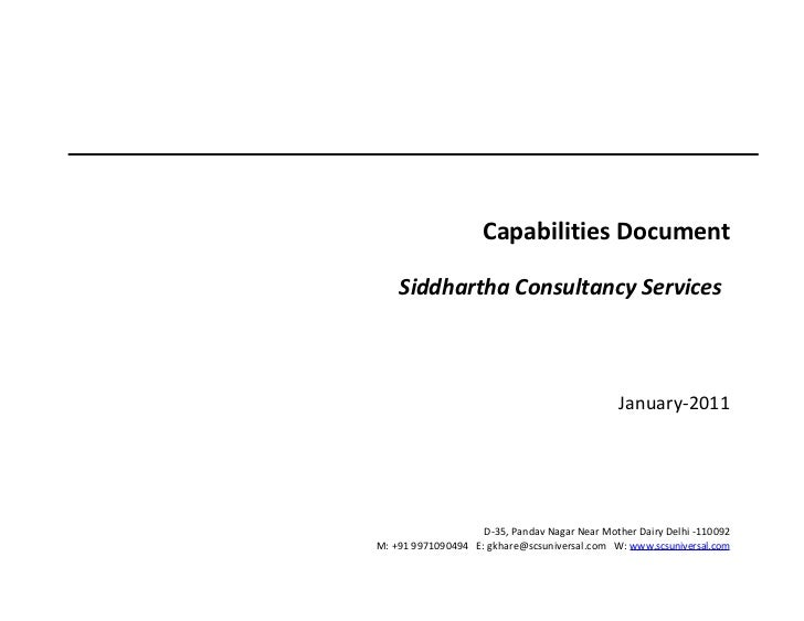Capabilities Document    Siddhartha Consultancy Services                                               January-2011       ...