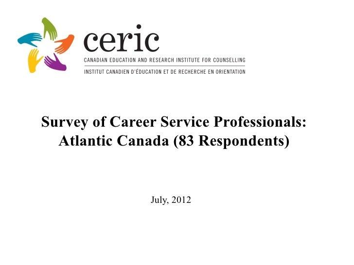Survey of Career Service Professionals:  Atlantic Canada (83 Respondents)                July, 2012