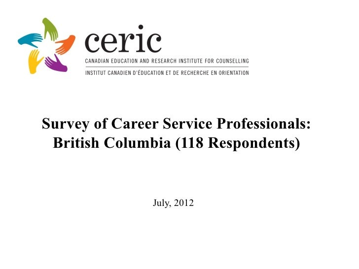 Survey of Career Service Professionals: British Columbia (118 Respondents)                July, 2012