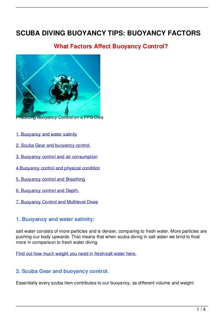 SCUBA DIVING BUOYANCY TIPS: BUOYANCY FACTORS                   What Factors Affect Buoyancy Control?Practicing Buoyancy Co...