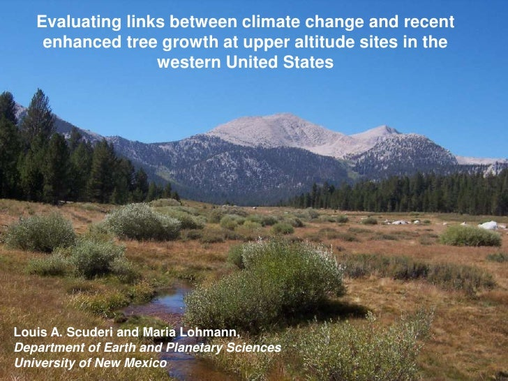 Evaluating links between climate change and recent    enhanced tree growth at upper altitude sites in the                 ...
