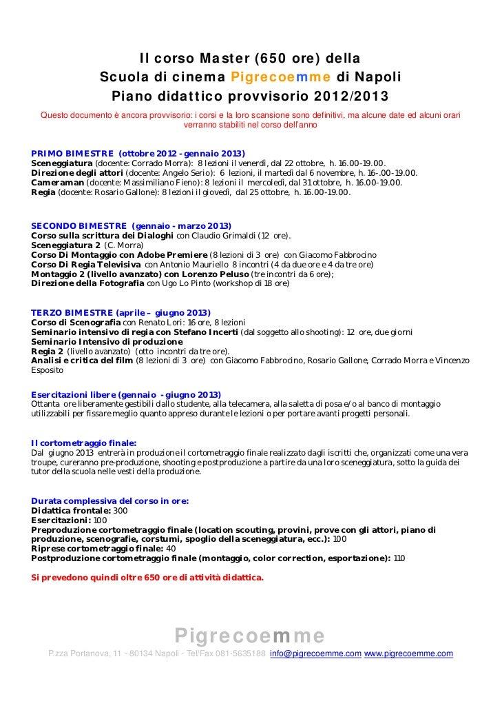 Scuola di cinema - Corso Master 2012/2013 (650 ore) - Programma