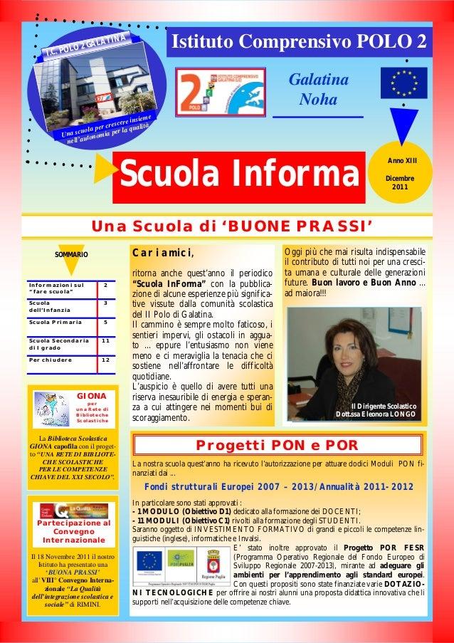"""Una Scuola di 'BUONE PRASSI' La Biblioteca Scolastica GIONA capofila con il proget- to """"UNA RETE DI BIBLIOTE- CHE SCOLASTI..."""