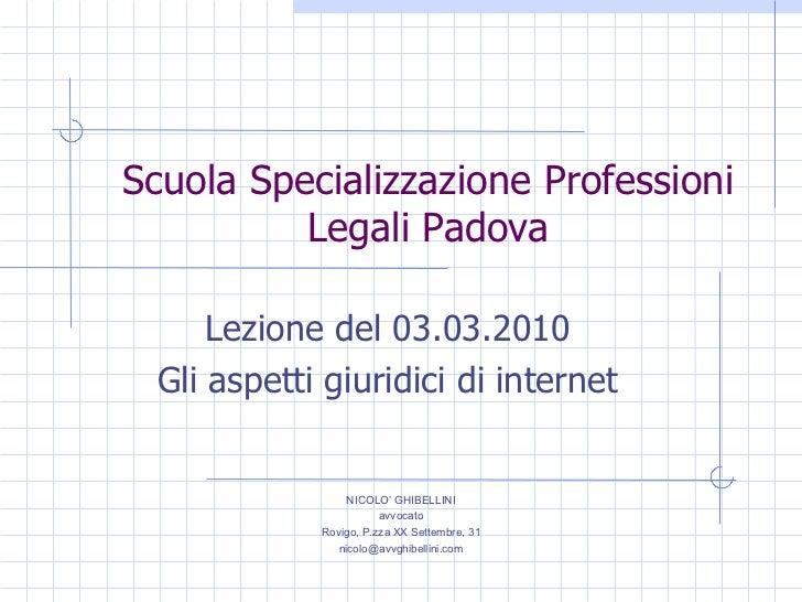 Scuola spec. prof. leg. pd