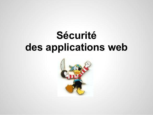 Sécurité des applications web