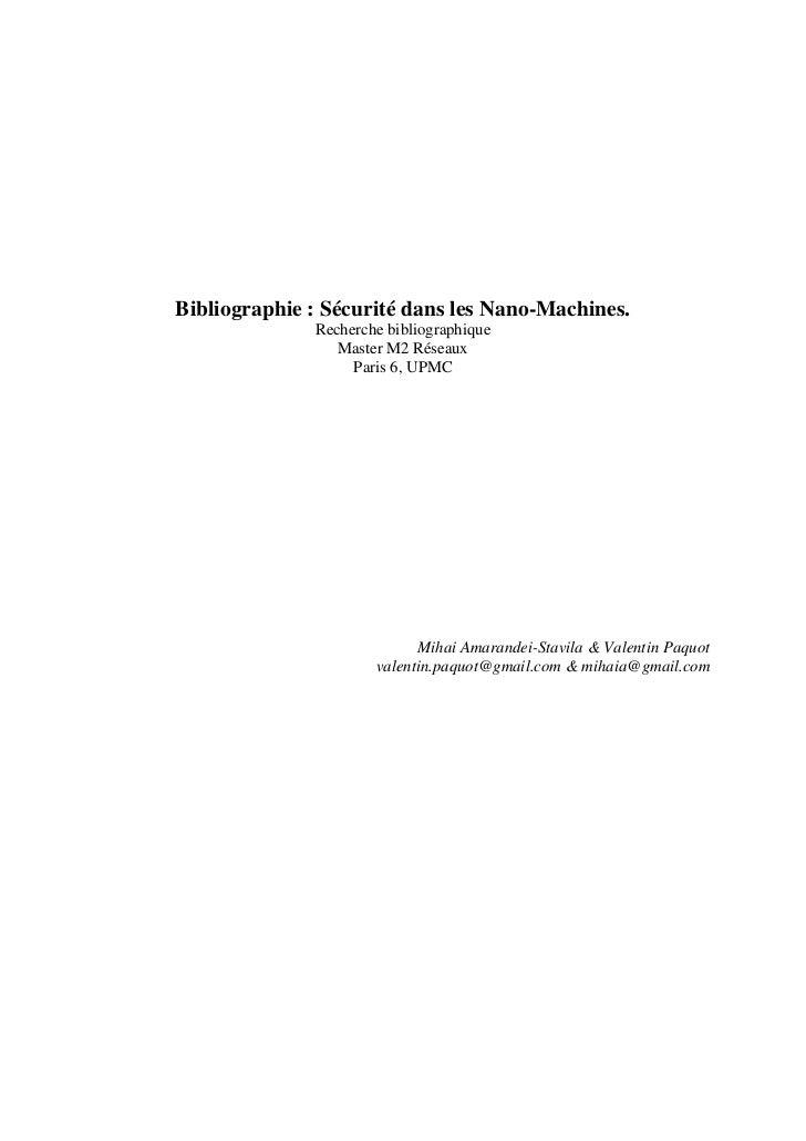 Bibliographie : Sécurité dans les Nano-Machines.              Recherche bibliographique                 Master M2 Réseaux ...
