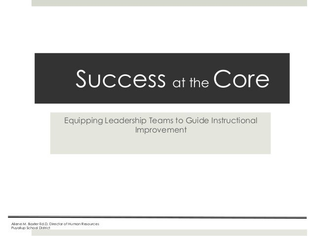 Success at the Core Equipping Leadership Teams to Guide Instructional Improvement  Ailene M. Baxter Ed.D, Director of Huma...