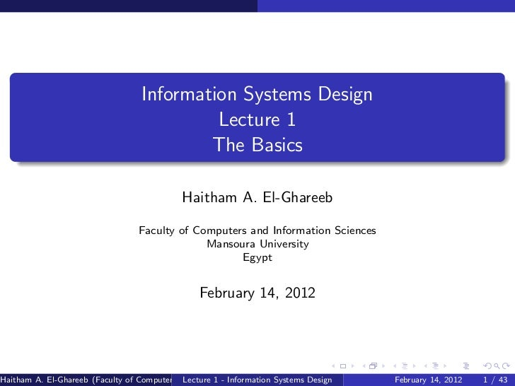 Information Systems Design                                            Lecture 1                                           ...