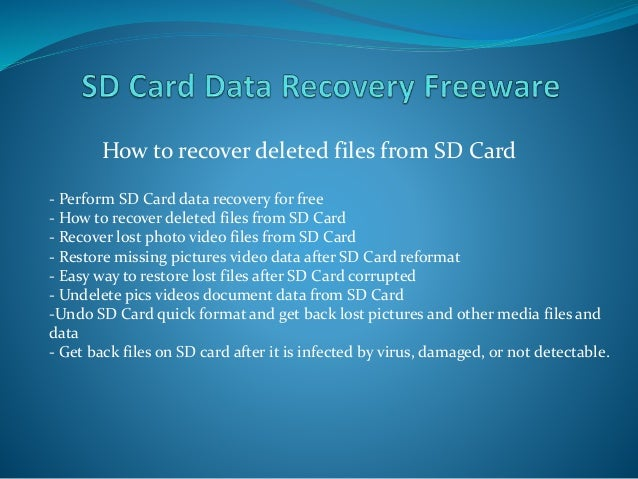 How can i restore my damaged sd card