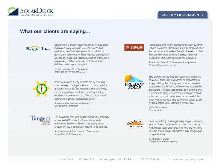 SolarDock 2011 Testimonials
