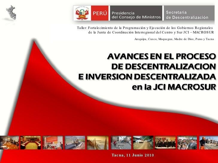 Tacna, 11 Junio 2010 Taller: Fortalecimiento de la Programación y Ejecución de los Gobiernos Regionales  de la Junta de Co...