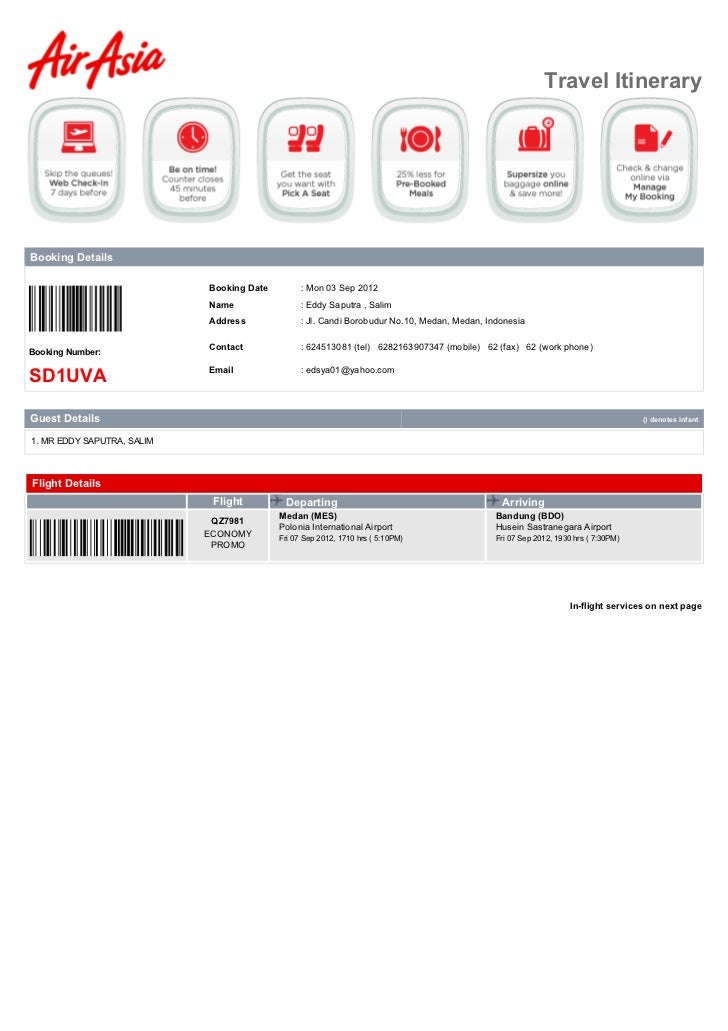 Travel ItineraryBooking Details                            Booking Date         : Mon 03 Sep 2012                         ...