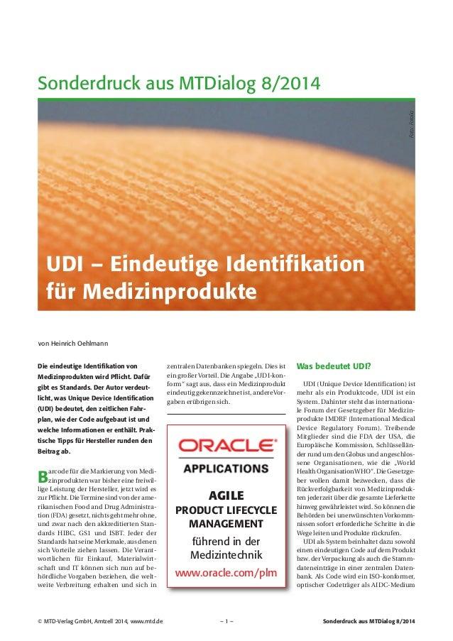 Fachaufsatz: UDI – Eindeutige Identifikation