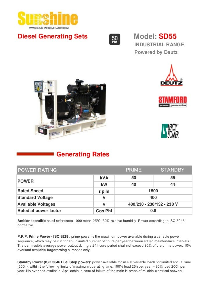 Diesel Generating Sets                                                    Model: SD55                                     ...