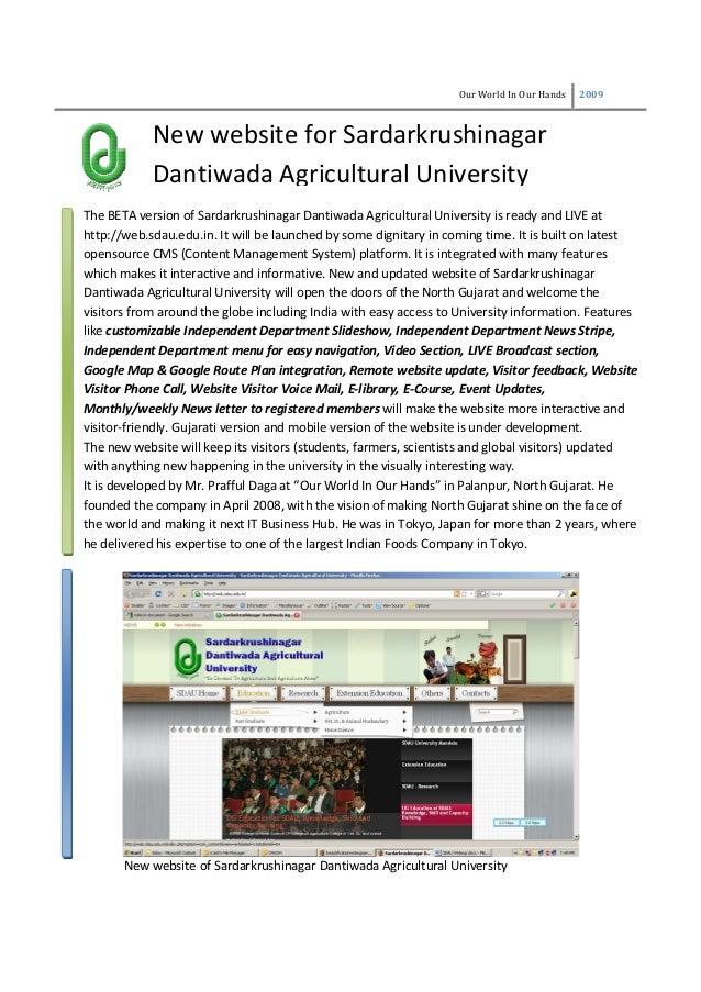 Our World In Our Hands 2009 New website for Sardarkrushinagar Dantiwada Agricultural University The BETA version of Sardar...