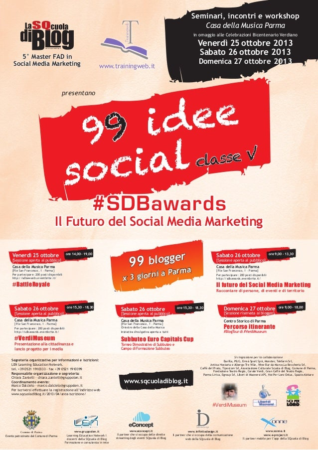 99 idee Social Vol. 5 - #SDBawards #BattleRoyale #VerdiMuseum - 25 Ottobre 2013 - locandina