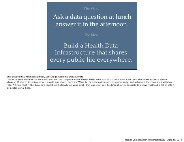 Ask a data question at lunch answer it in the afternoon. The Vision Build a Health Data Infrastructure that shares every p...