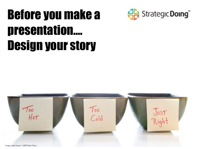 Image credit: robeo / 123RF Stock Photo Before you make a presentation…. Design your story