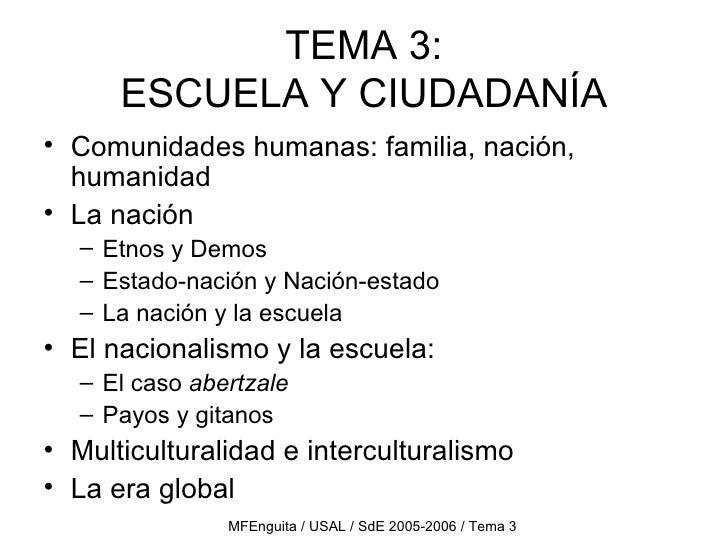 TEMA 3: ESCUELA Y CIUDADANÍA <ul><li>Comunidades humanas: familia, nación, humanidad </li></ul><ul><li>La nación </li></ul...