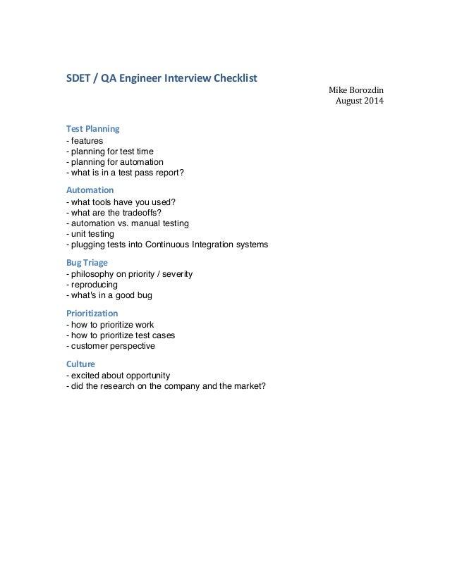 SDET  /  QA  Engineer  Interview  Checklist   Mike  Borozdin   August  2014      Test  Planning  ...