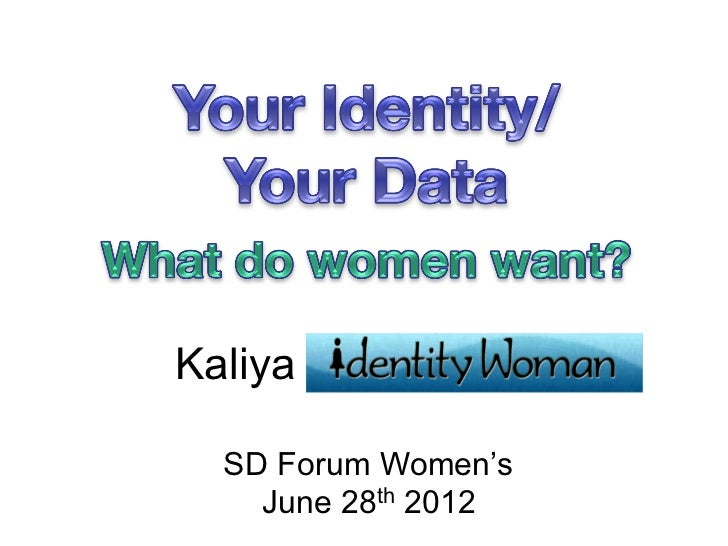 ID & Data presented at SDForum TechWomen