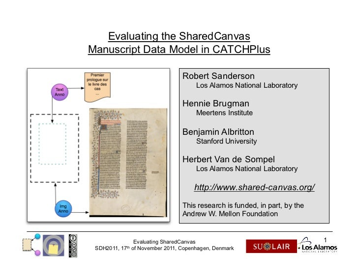 Evaluating the SharedCanvasManuscript Data Model in CATCHPlus                                     Robert Sanderson        ...
