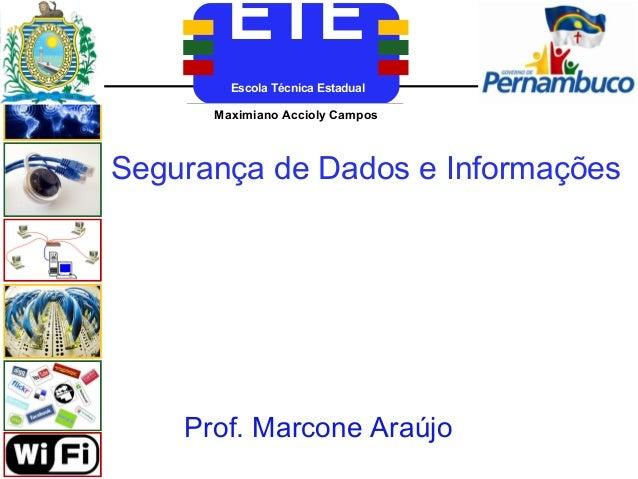 ETE        Escola Técnica Estadual      Maximiano Accioly Campos      Aderico Alves de VasconcelosSegurança de Dados e Inf...