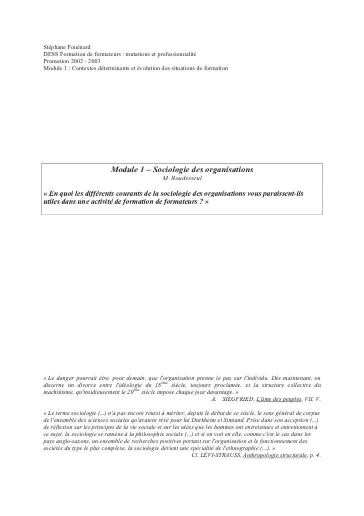 Stéphane FouénardDESS Formation de formateurs : mutations et professionnalitéPromotion 2002 - 2003Module 1 : Contextes dét...