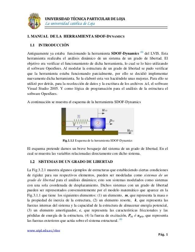 UNIVERSIDAD TÉCNICA PARTICULAR DE LOJA            La universidad católica de Loja1. MANUAL DE LA HERRAMIENTA S DOF- DY NA ...